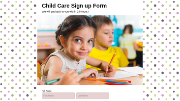 Child Care Sign up Form